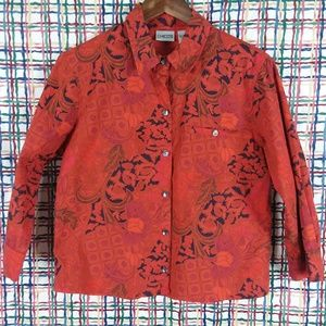 Chico's Floral Print Button Up 3/4 Sleeve Blouse